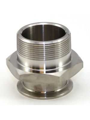 1 In T304 Stainless Steel 21MP Male Adapter, Sanitary Clamp x Male NPT