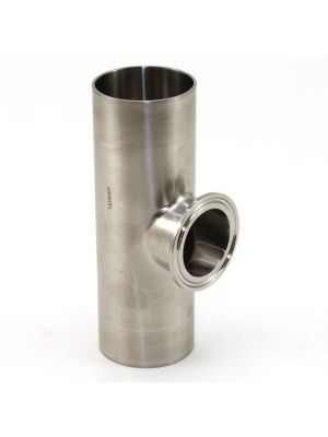2 x 1-1/2 In T316 Stainless Steel S7SWWK Short Outlet Tee / Branch Ferrule, BPE Sanitary Weld x Clamp