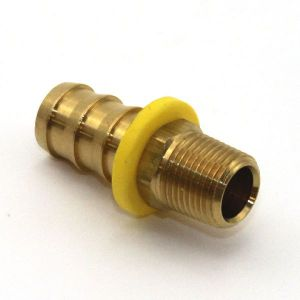 1/4 In Brass Male NPT Push On Fitting, for 3/8 In Hose, Campbell BMP-0604