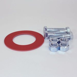 4 In Bolt And Gasket Kit, Including Zinc Plated Bolts & Nuts, 1/8 In Thick 150 LB Red Rubber Ring Gasket