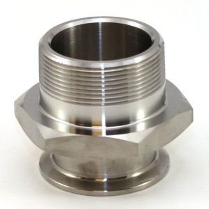 1 In T316 Stainless Steel 21MP Male Adapter, Sanitary Clamp x Male NPT