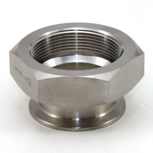 1 In T316 Stainless Steel 22MP Female Adapter, Sanitary Clamp x Female NPT
