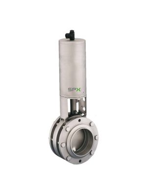 1-1/2 In APV 316L Stainless Steel Sanitary Butterfly Valve, Fail-Close Pneumatic Actuator, Silicone Seat, S-Clamp Ends