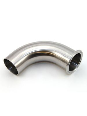 1 In T304 Stainless Steel 2CKW 90 Degree Elbow, Sanitary Weld x Sanitary Clamp