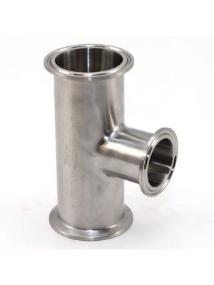 2-1/2 x 1-1/2 In T304 Stainless Steel 7RMP Tee, Sanitary Clamp