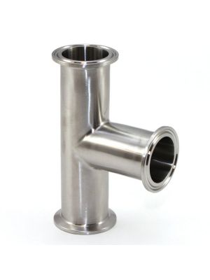 1-1/2 In T304 Stainless Steel 7MP Tee, Sanitary Clamp